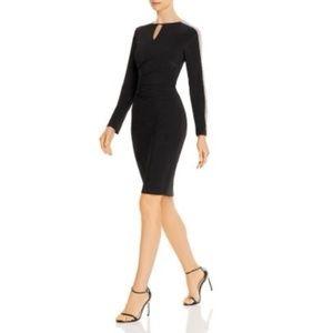NWT Aqua Beaded Sleeve Ruched Cocktail Dress